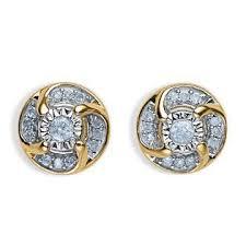 yellow gold stud earrings 1 4 cttw diamond flower yellow gold stud earrings