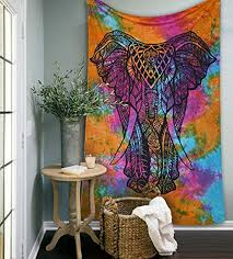 Psychedelic Room Decor Amazon Com Indian Tapestry Rainbow Tie Dye Elephant Tapestries