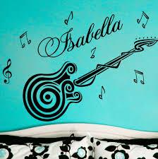 customize name guitar music vinyl wall decals sticker art vinyl