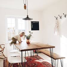 Dining Table Chairs And Bench - hairpin leg table and bench with modern chairs my dream set up
