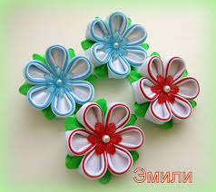 369 best kanzashi images on ribbon flower fabric