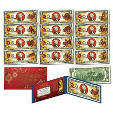 new year dollar bill set of all 12 zodiac lunar new year year of the colorized