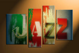 4 piece colorful canvas jazz music multi panel art abstract wall