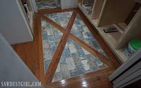 how to install a wood floor with tile inlay sawdust