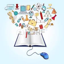 online education concept with book computer mouse and sketch