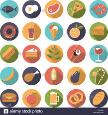 drink vector flat design long shadow food and drink vector icons set stock