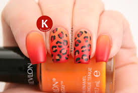 orange and red gradient leopard nails kerruticles