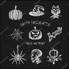 white halloween background sketches halloween icons on black chalkboard u2014 stock vector losw