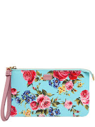 Light Blue Dolce And Gabbana Womens Dolce U0026 Gabbana Roses Dauphine Embossed Leather Pouch Sky Blue