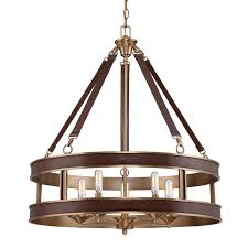 Drum Pendant Leather And Aged Brass Drum Pendant Shades Of Light