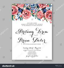 Bridal Shower Invitations Cards Watercolor Rose Peony Anemone Wedding Invitation Stock Vector
