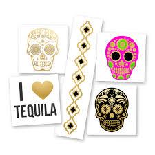 variety set metallic sugar skulls flash tattoos
