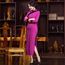 aliexpress com buy chinese style long silk cheongsam evening