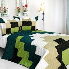 Geometric Coverlet Zigzag Terrain Teen Boy Bedding Full Queen Quilt Set Geometric