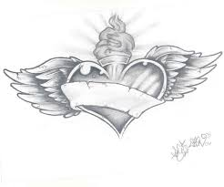 grey ink sacred heart with banner and wings tattoo design