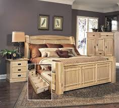 Queen Bed With Storage Hickory Highlands Bedroom Suite With Under Bed Storage Drawers