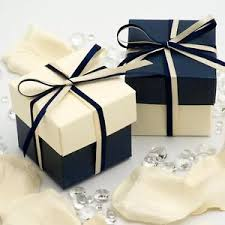 wedding boxes navy blue and ivory square box and lid wedding favour boxes