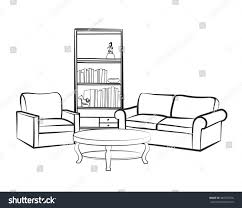 Couch Drawing Home Interior Furniture Sofa Armchair Table Stock Vector 440725378