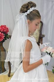 1st communion veils satin flowers wreath communion veil firstcommunions