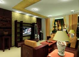 Chinese Living Room Furniture Set Living Room Night Rendering With Chinese Tv Wall 3d House