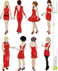 cocktail party cartoon eight ladies in red cocktail dresses royalty free stock image
