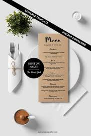 printable wedding menu wedding menu template by blisspaperboutique