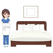 nettoyage chambre hotel service de nettoyage de chambre à coucher d hôtel illustration de