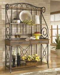 Corner Bakers Rack With Storage Wrought Iron Bakers Rack Also Big Size Design And Bottom Wooden