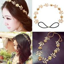 flower bands best wedding accessories for women gold leaves