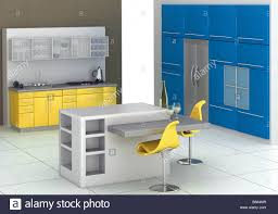 Kitchen With An Island by Modern Kitchen With An Island In Blue And Yellow Stock Photo