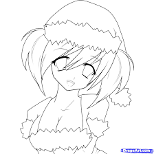 how to draw an anime christmas christmas step by step