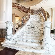 Banister Homes Marble Staircase With Gold Banister Luxury Homes Dream Home