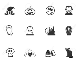 halloween icon series in black and white royalty free cliparts