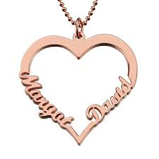 Cheap Name Necklaces Customized Rose Gold Color Heart Name Necklace Couples Heart