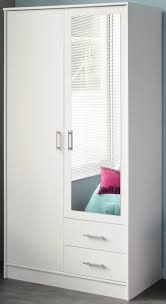White Bedroom Wardrobes Uk Parisot Infinity Double Wardrobe In White With Mirror