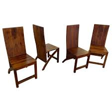 Craftmade Furniture Set Of Four Sculptural Exotic Wood Handmade Chairs For Sale At 1stdibs