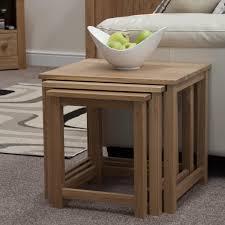 eton solid oak furniture elegant nest of three coffee tables