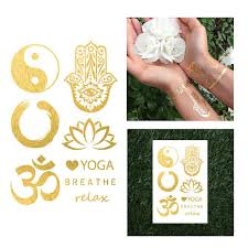 yoga tattoo pictures yoga ohm hamsa metallic temporary jewelry flash tattoo ying yang