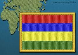 Mauritius Flag Mauritius Rectangle Flag Embroidery Design With A Gold Border