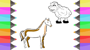 how to draw animal horse sheep colouring book for kids learning