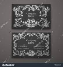 black business card with flower and ornaments in baroque style