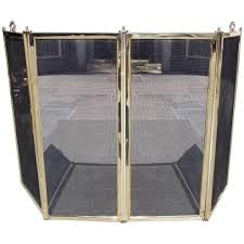 american brass and wire mesh four panel fireplace screen circa