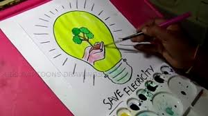 how to draw save electricity save energy drawing for kids youtube