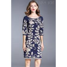premium blue floral embroidered dress