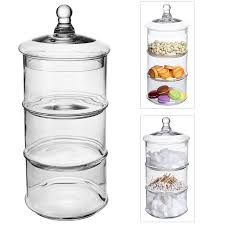 Amazon MyGift 3 Tier Stacking Apothecary Jars Round Glass