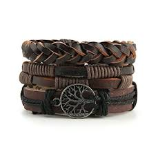leather wrist bracelet images Hzman mix 6 wrap bracelets men women hemp cords wood beads ethnic jpg