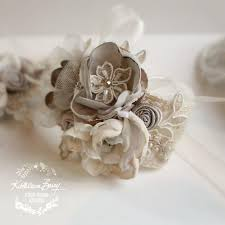 lace wrist corsage oyster taupe pebble wedding accessories