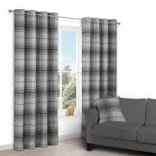 Checkered Curtains by Lamego Grey Check Eyelet Lined Curtains W 167 Cm L 228 Cm
