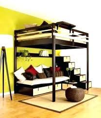lit en hauteur avec canapé lit mezzanine canape lit superpose avec escalier rangement lit