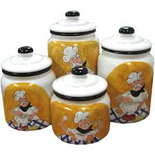 encore ceramic hand painted chef set of 4 canisters canister